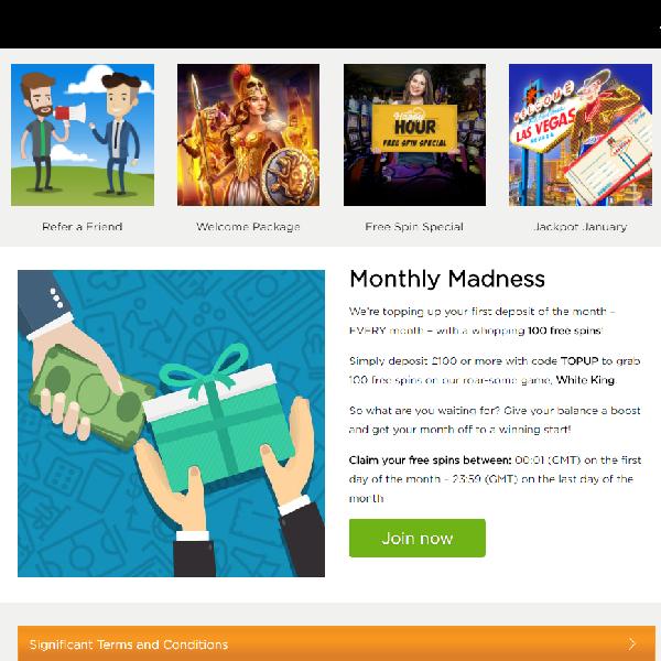 Get 100 Free Spins at Casino.com