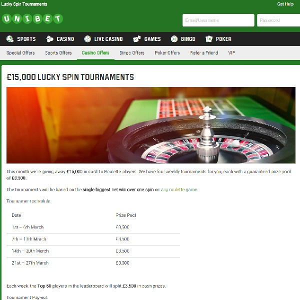Win a Share of £15K in Unibet Roulette Competition