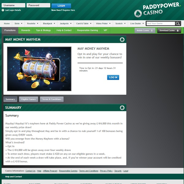 Win a Share of £4,000 Bonuses at Paddy Power Casino