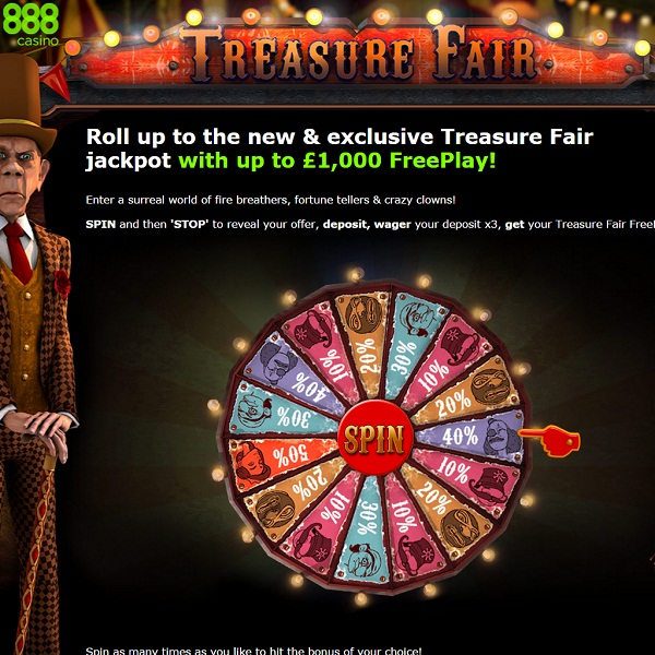 Enjoy Up to £1,000 of Free Play at 888 Casino