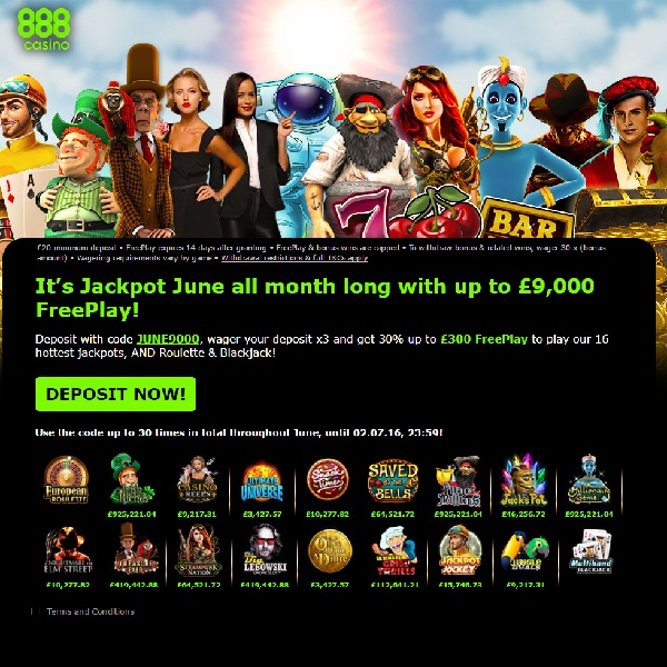 Enjoy £9K of Free Play on Jackpot Games at 888 Casino