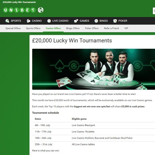 Unibet Casino Celebrates Live Dealer Casino with £20K Tournament