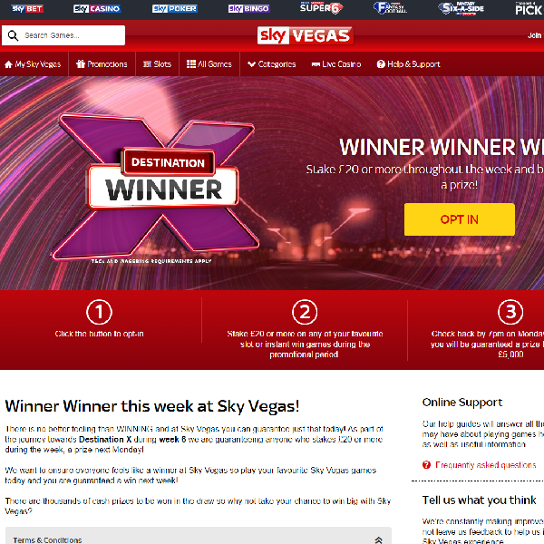 Sky Vegas Guarantees Cash Prizes All Week Long