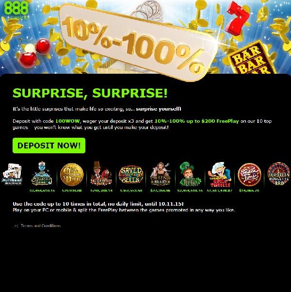 Enjoy a Surprise Bonus at 888 Casino