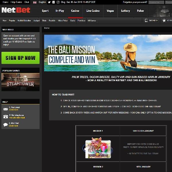 Win a Trip to Bali at NetBet Casino