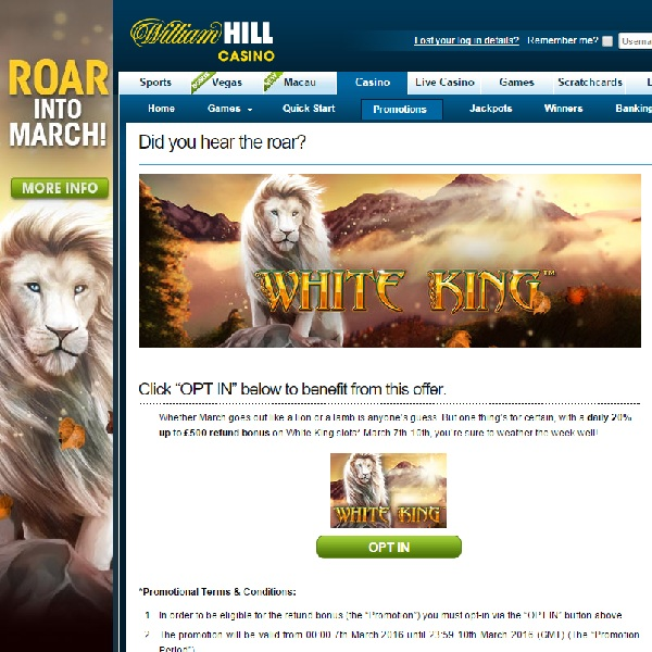 Receive 20% Back on Losses at William Hill Casino