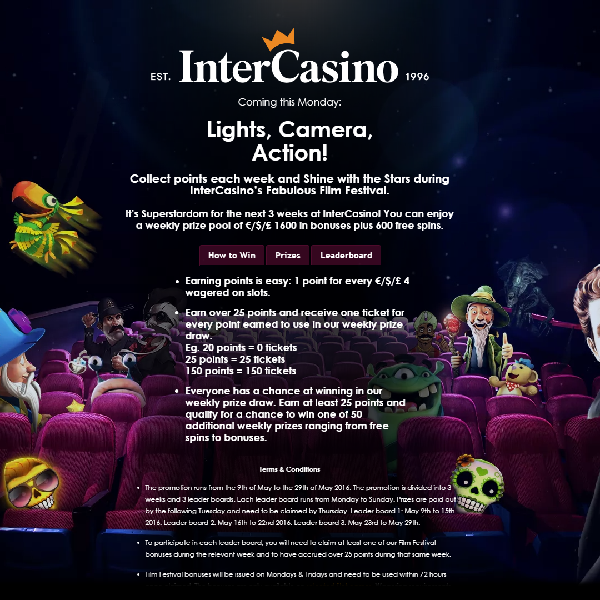 Win a Share of £1,600 and 600 Free Spins at InterCasino