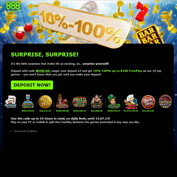 888 Casino Offers Members Surprise Free Play
