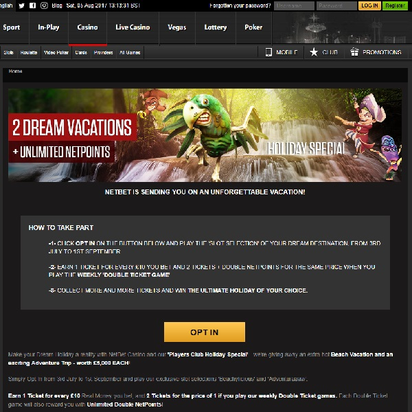 Win a Beach or Adventure Holiday at NetBet Casino