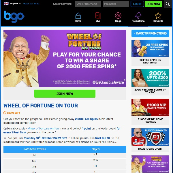 Win a Share of 2K Free Spins in BGO's Wheel of Fortune on Tour Competition
