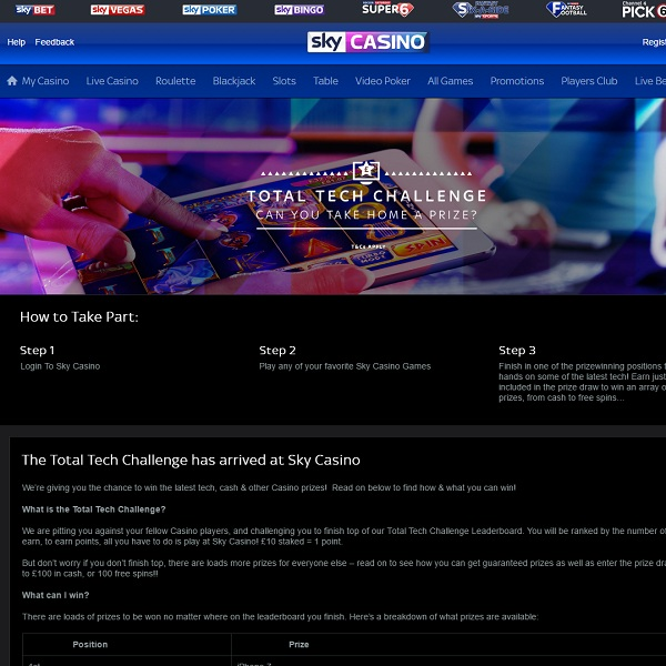 Win Gadgets, Cash and Free Spins at Sky Casino