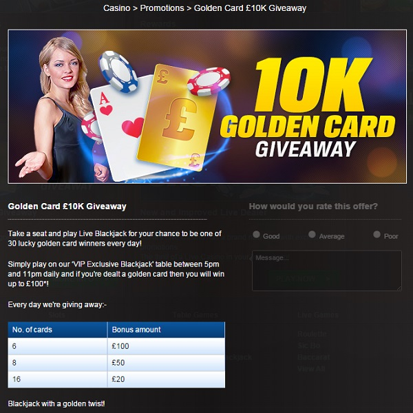 Coral Offers Blackjack Bonuses in Golden Card £10K Giveaway