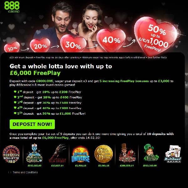 Earn Up to £6,000 Free Play at 888 Casino