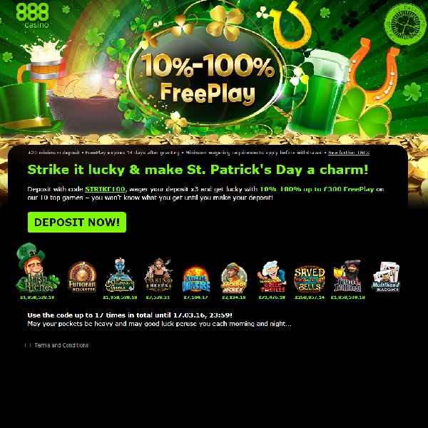 Enjoy St. Patrick's Free Play at 888 Casino