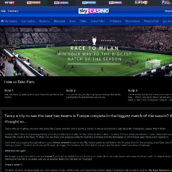 Win Tickets to the Champions League Final at Sky Casino