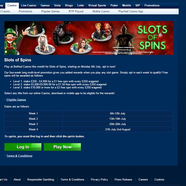 Betfred Casino is Rewarding Slot Players All Month