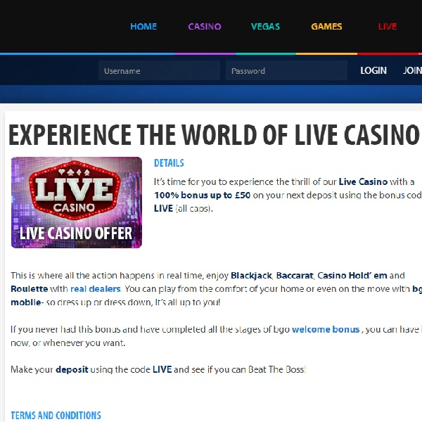 Enjoy a Live Dealer Deposit Bonus At BGO Casino