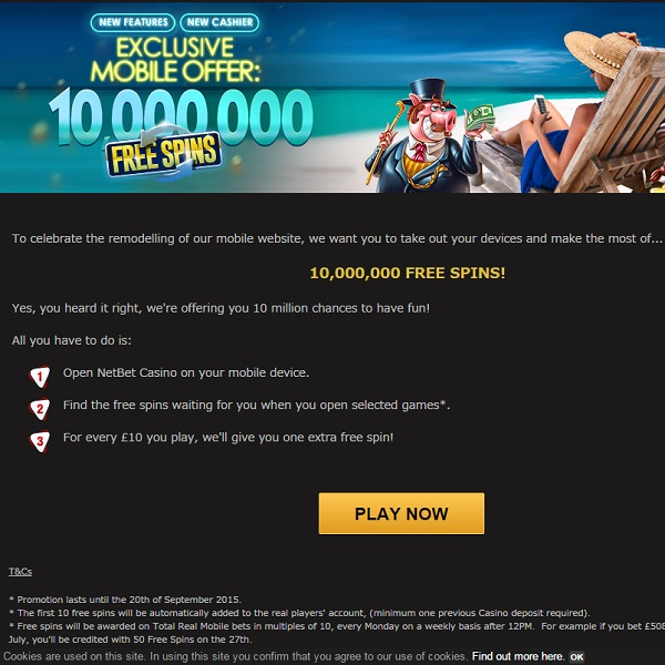 Enjoy Your Share of 10 Million Free Spins at NetBet Casino
