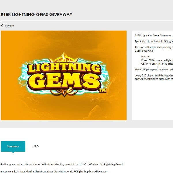 Gala Casino Is Giving Away £15K in its Lightning Gems Promotion