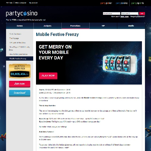 Receive Rewards in Party Casino Mobile Festive Frenzy