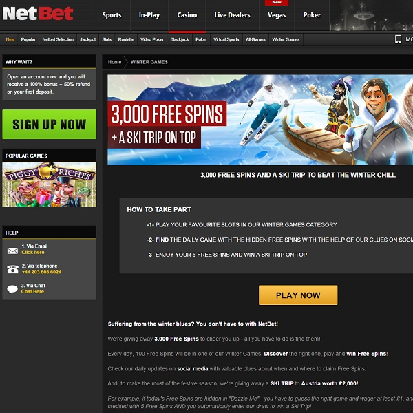 Win Free Spins and a Skiing Holiday at NetBet Casino