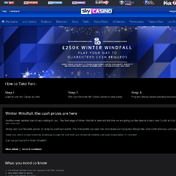Win a Share of £4K Cash at Sky Casino This week