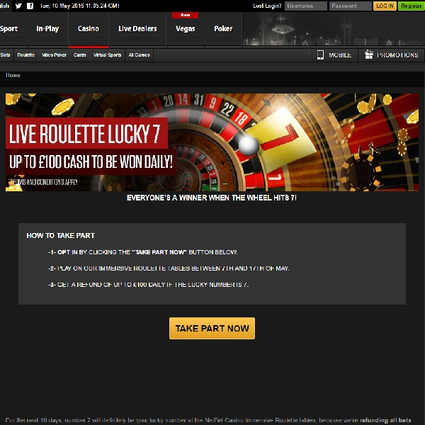 Win Cash Refunds Playing Roulette at NetBet Casino