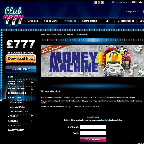 Earn Rewards With Club 777 Casino's Money Machine