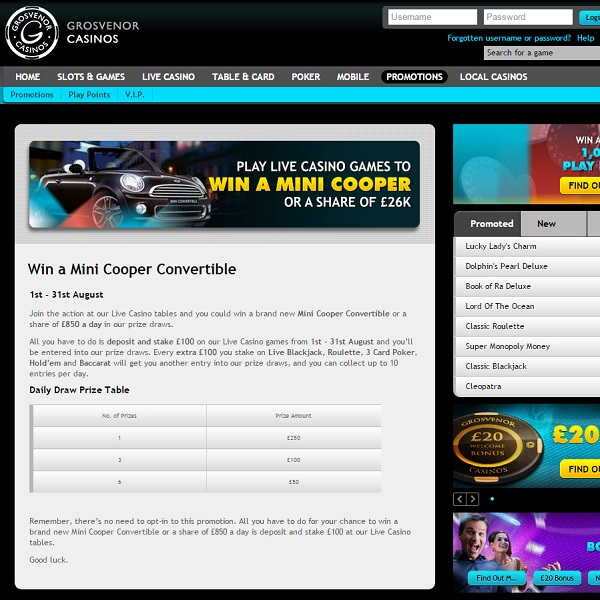 Win a Mini Cooper Convertible at Grosvenor Casino