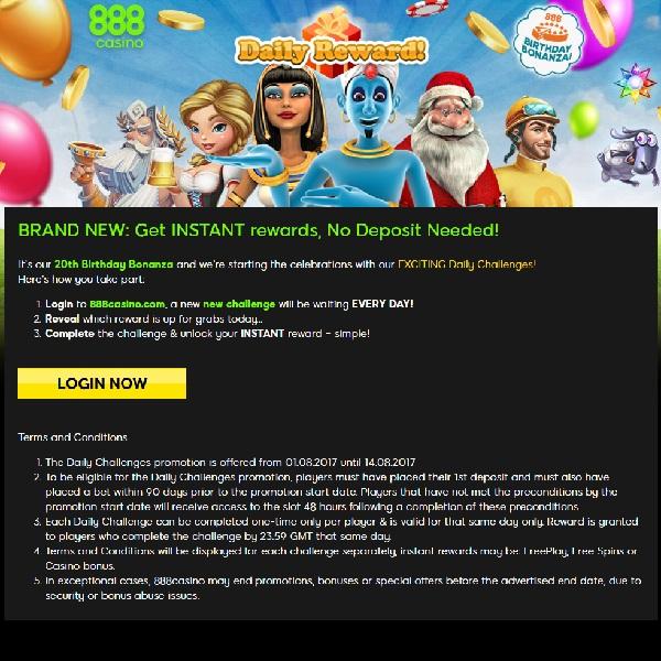 Claim Daily Rewards in 888 Casino's 20th Birthday Celebration