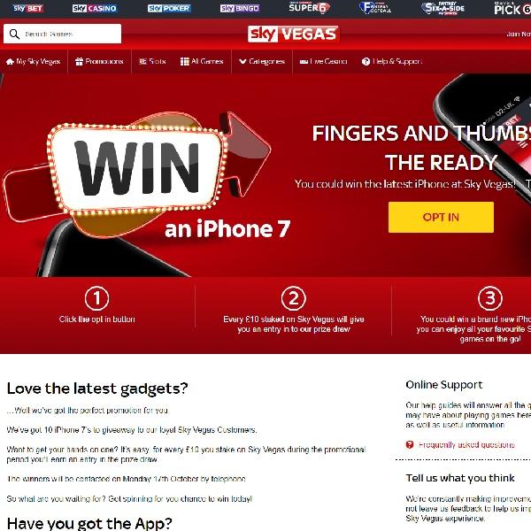 Win an iPhone 7 at Sky Vegas Casino