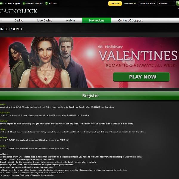 Enjoy Valentine's Day Bonuses at Casino Luck