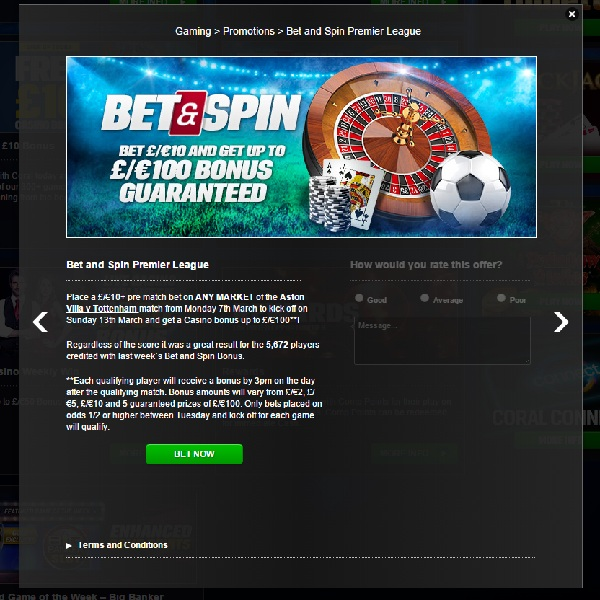 Bet on Spurs vs Villa and Get a Coral Casino Bonus