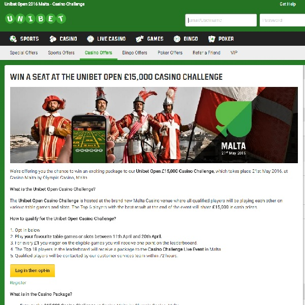 Win a Seat at the Unibet Open £15K Casino Challenge