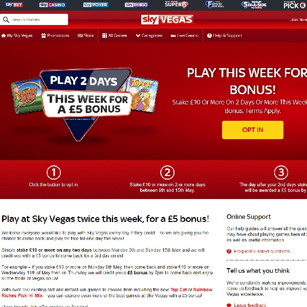 Get a £5 Bonus at Sky Vegas This Week