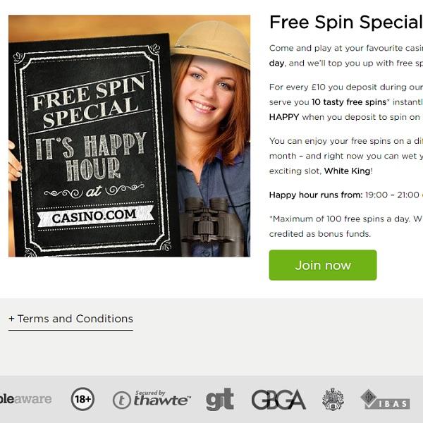 Enjoy Free Spins Happy Hour at Casino.com