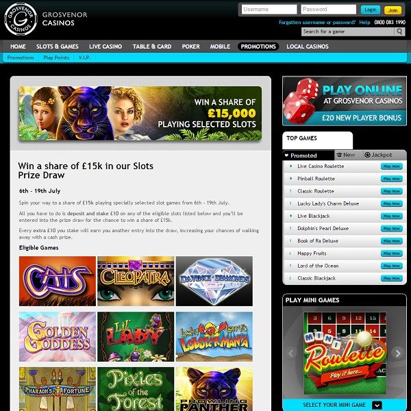 Win a Share of £15K in Grosvenor Casino Slots Prize Draw