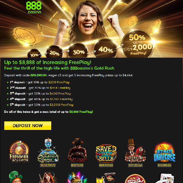 Claim Up to $8,888 of Free Play at 888 Casino