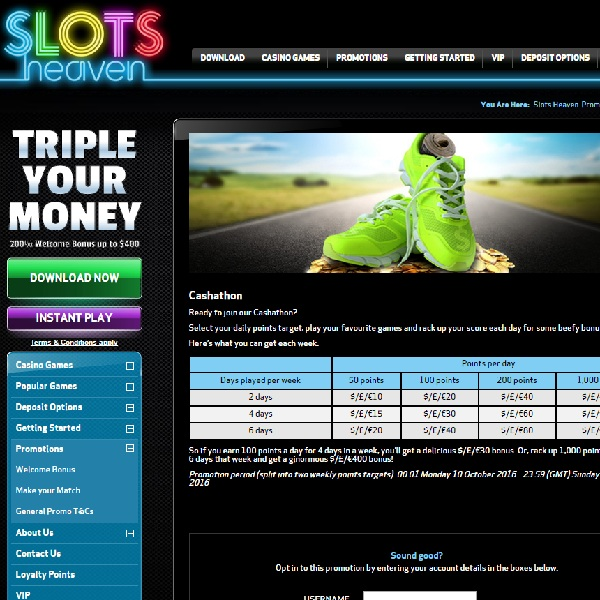 Earn Huge Bonuses in Slots Heaven Casino's Cashathon