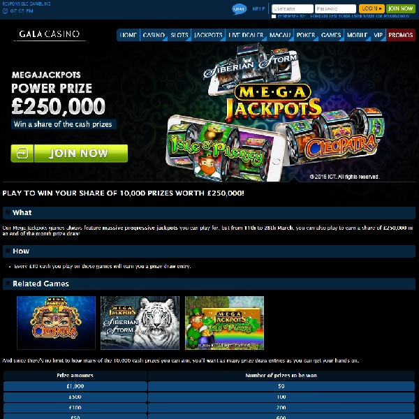 Win a Share of £250K at Gala Casino