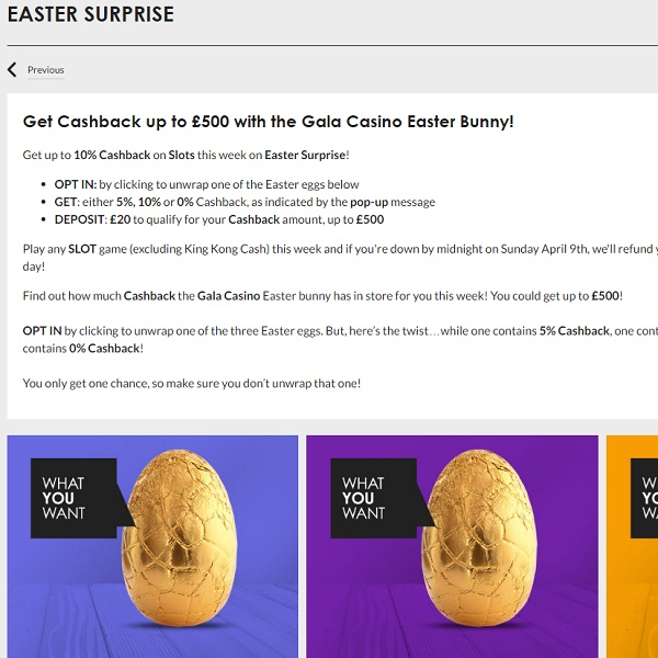 Enjoy Cashback with Gala Casino Easter Surprise Promo