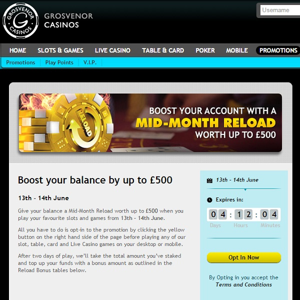 Enjoy a £500 Bonus with Grosvenor Casino's Mid-Month Reload
