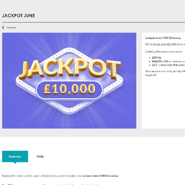 Win a Share of £10K at Gala Casino This June