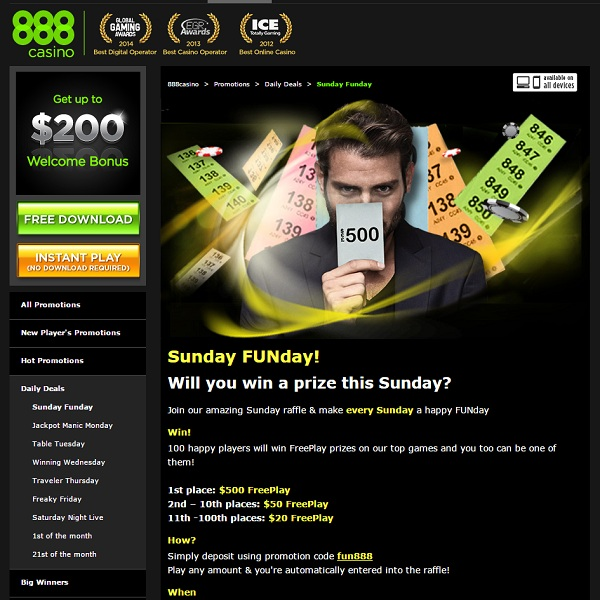 Win Up To $500 of Free Play at 888 Casino Every Sunday