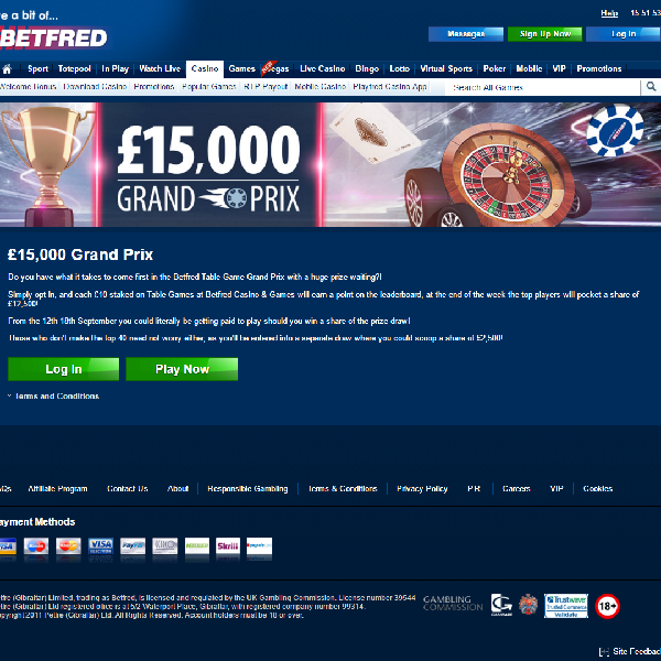 Win a share of £15K in the Betfred Table Games Grand Prix