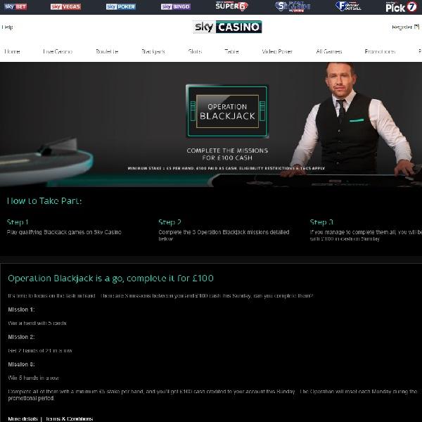 Win £100 Cash in Sky Casino's Operation Blackjack Promotion