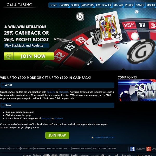 Enjoy a Win-Win Situation at Gala Casino and Receive £100
