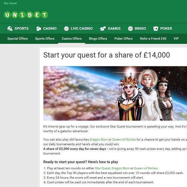 Win a Share of £14,000 at Unibet Casino