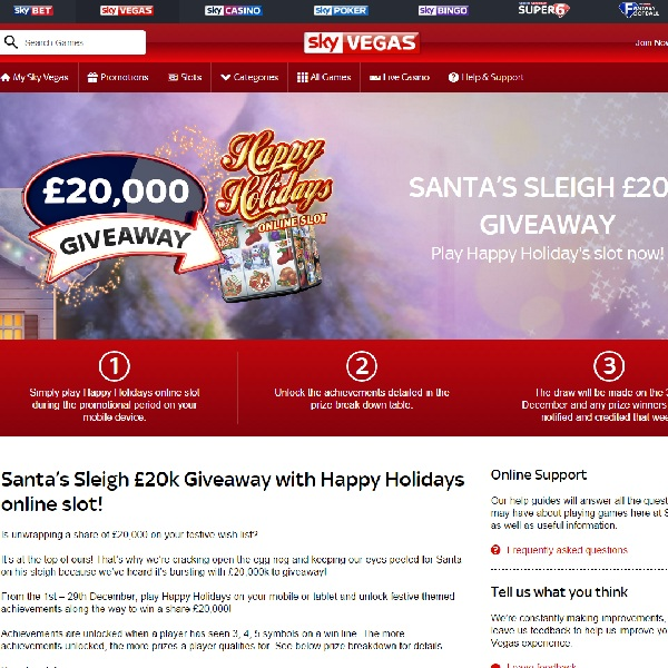 Win a Share of £20K in Sky Vegas Santa's Sleigh Giveaway