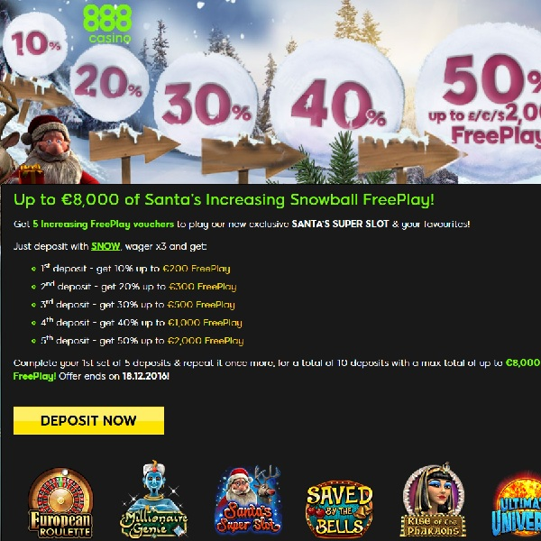 Enjoy £8K of Santa's Snowball Free Play at 888 Casino